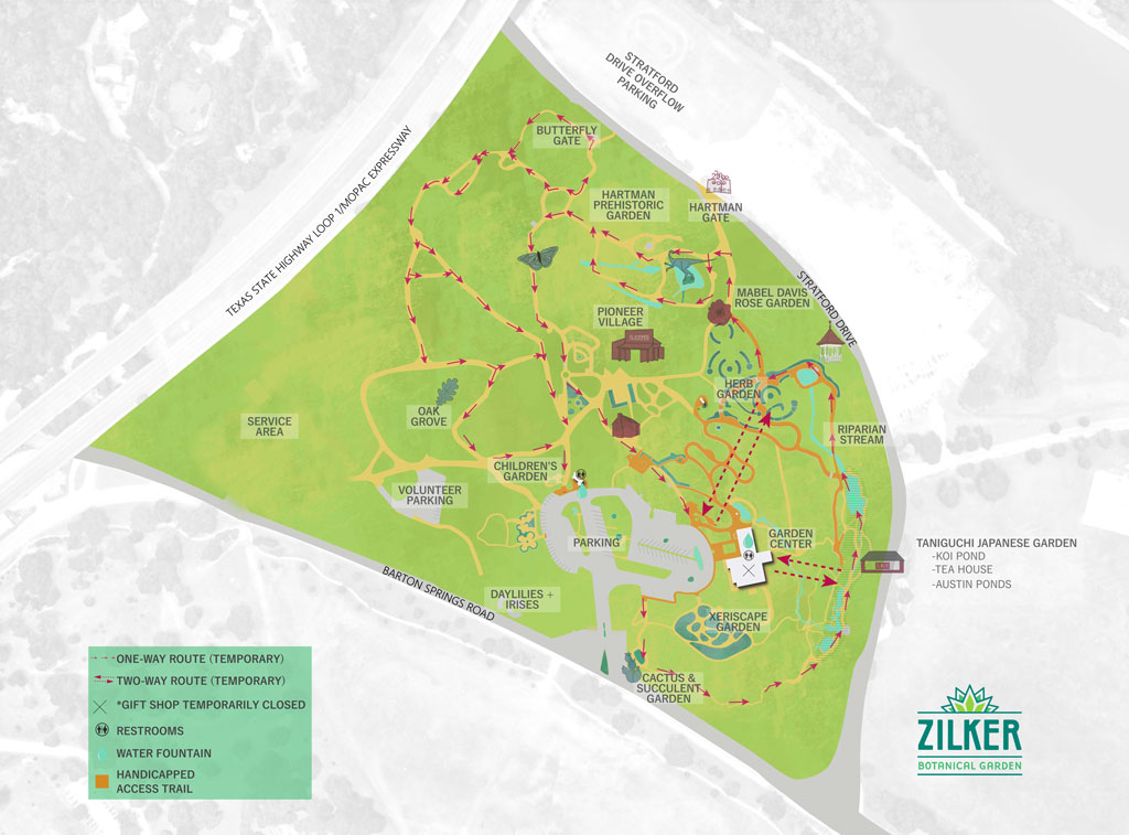 Map of Zilker Botanical Garden's one way paths during the Covid-19 Crisis